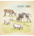 Watercolor landscape with cows vector image vector image