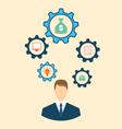Businessman Head with Cogwheels vector image