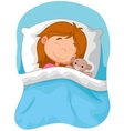 Cartoon girl sleeping with stuffed bear vector image