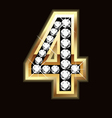 Number four bling gold and diamonds vector image