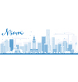 Outline Miami Skyline with Blue Buildings vector image