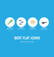 flat icon nature set of tuna fish octopus and vector image