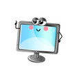 Funny lcd tv cartoon character vector image