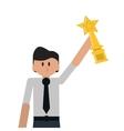 man cartoon winner traphy champion vector image