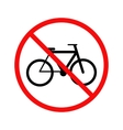 No cycling bicycle forbidden sign on white vector image