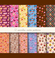 seamless cupcakes patterns vector image