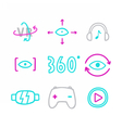 Set of virtual reality icons Glasses eyes 360 vector image