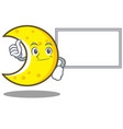 thumbs up with board crescent moon character vector image