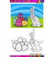 easter bunny cartoon for coloring vector image vector image