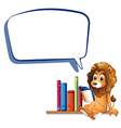 A lion in the library with an empty callout vector image