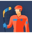 Man in hockey gear stands with stick vector image vector image