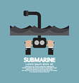 Periscope Of Submarine Under The Ocean vector image