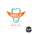 Molar tooth logo template with smile shaped text vector image