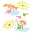 angels and birds vector image