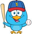 Cute Baseball Playing Bird Cartoon vector image