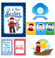 a set of on the theme of fishing fisherman with a vector image