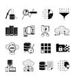 Data Processing Black Icons vector image