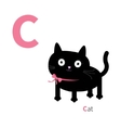 Letter C Cat Zoo alphabet English abc with vector image