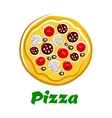 Pizza with sliced salami olives and vegetables vector image