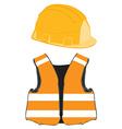 Orange building helmet and vest vector image