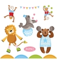 Circus animals perform tricks vector image