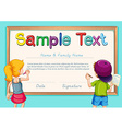 Certificate with boy and girl in background vector image vector image