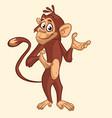 cartoon funny chimpanzee monkey waving hand vector image