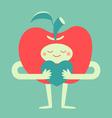 Cute Apple Hugging a Heart vector image