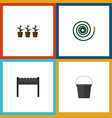 flat icon dacha set of barbecue pail flowerpot vector image