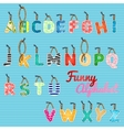Funny alphabet color hanging letters vector image