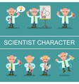 Mad cute flat Professor scientist doctor set vector image