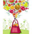 shopping bag with fruit splash vector image