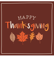 thanksgiving card with autumn leaves brown vector image