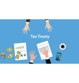 tax treaty concept with two business vector image