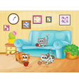 Three cats playing inside the house vector image