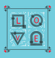 black and red abstract love word frame emblem vector image