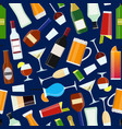 cartoon alcoholic beverages drink seamless pattern vector image