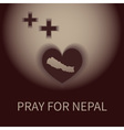 heart shape and plus shadow pray for nepal banner vector image