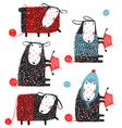 Knitting crafty sheep scribble cartoon collection vector image