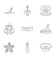 sailor icons set outline style vector image
