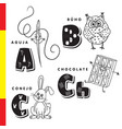 spanish alphabet needle owl chocolate rabbit vector image