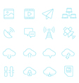 Thin lines icon set - network communication vector image