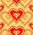 Valentines day red hearts seamless texture vector image