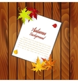 Wooden Background With Autumn Leaves vector image