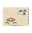vintage postal envelope with japan stamps vector image