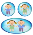 icons with boy and girl vector image vector image