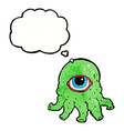 cartoon alien head with thought bubble vector image