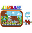 jigsaw puzzle game with kids running vector image