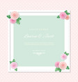 white square frame decorated with roses on polka vector image