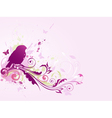abstract background with bird and floral ornament vector image